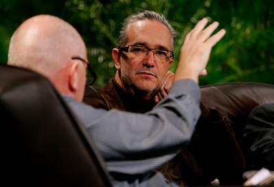 """Hotspots II"": Moderator Steve Evans (L), BBC Worldwide, with Ricardo Salinas, CEO, Grupo Salinas"