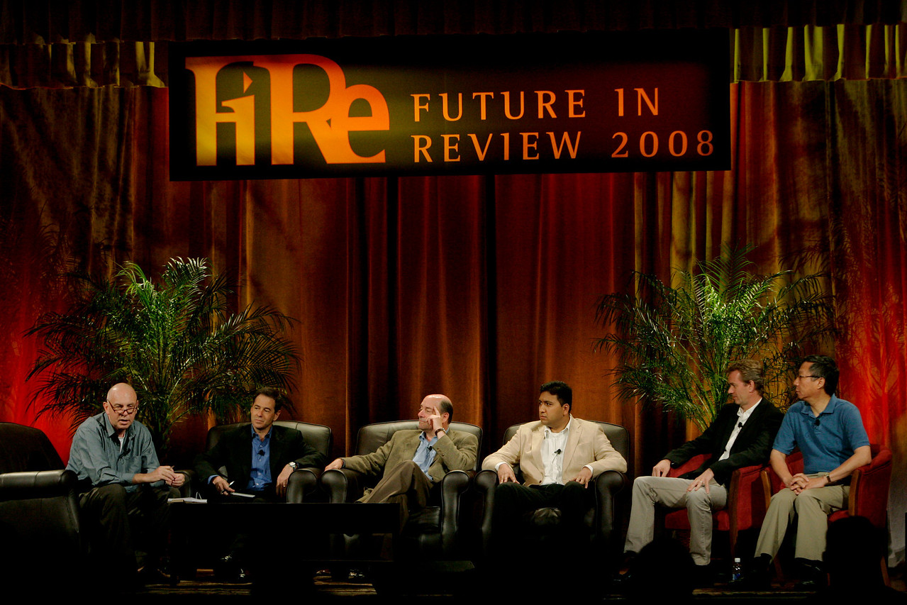 """Hotspots I"" (L-R): Moderator Steve Evans, Jim Marggraff, Robert Hagerty, Rajiv Salimath, Thorgeir Einarsson, and Curtis Wong"