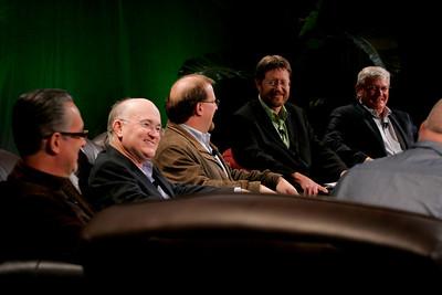 """Hotspots II"" (L-R): Ricardo Salinas-Pliego, Grupo Salinas; Don Jones, QUALCOMM; Simon Hackett, Internode; Mark Foster, Zimmer Gunsul Frasca; and David Morris, EcoVerdance"