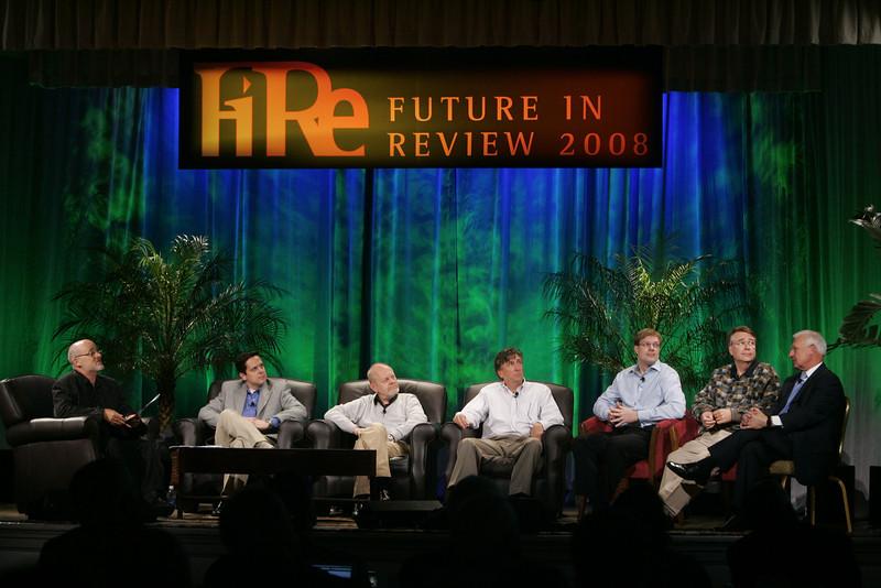 """CTO Design Challenge: New Ideas in Firefighting"": (L-R) Moderator David Brin, Brian Higbee, Per-Kristian Halvorsen, Kevin Walter, Kelly Millsaps, Larry Smarr, and Ron Roberts"