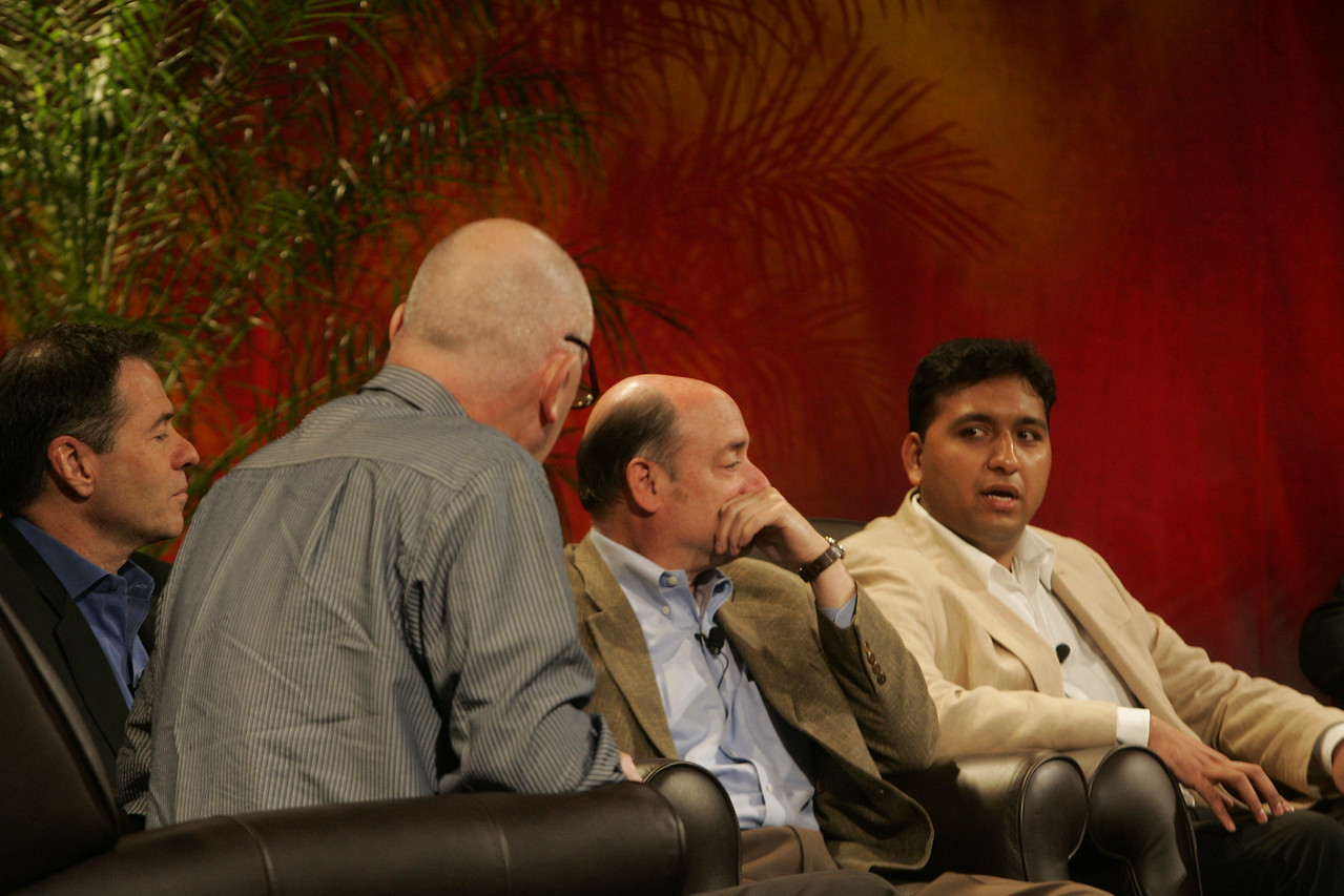 """Hotspots I"": (front to back) Moderator Steve Evans, BBC; Jim Marggraff, Livescribe; Robert Hagerty, Polycom; and Rajiv Salimath, Amperion"