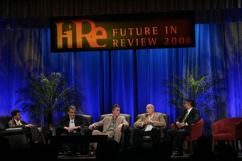 """The Future of Wireless: From Mobile Ads to Mobile Purchases"": (L-R) Moderator Chetan Sharma, Chetan Sharma Consulting; Hugh Bradlow, Telstra; Gary Roshak, Yahoo!; Jonathan Bulkeley, ScanBuy; and Rajeev Chand, Rutberg & Co."