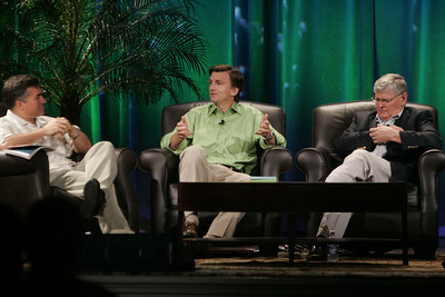 """Trading Carbon Credits: What's Next, and Who Benefits?"": (L-R) Host Martin Tobias, past CEO, Imperium Renewables; Erik Blachford, CEO, TerraPass; and David Morris, chair and president of EcoVerdance, the FiRe 2008 Spotlight Company"