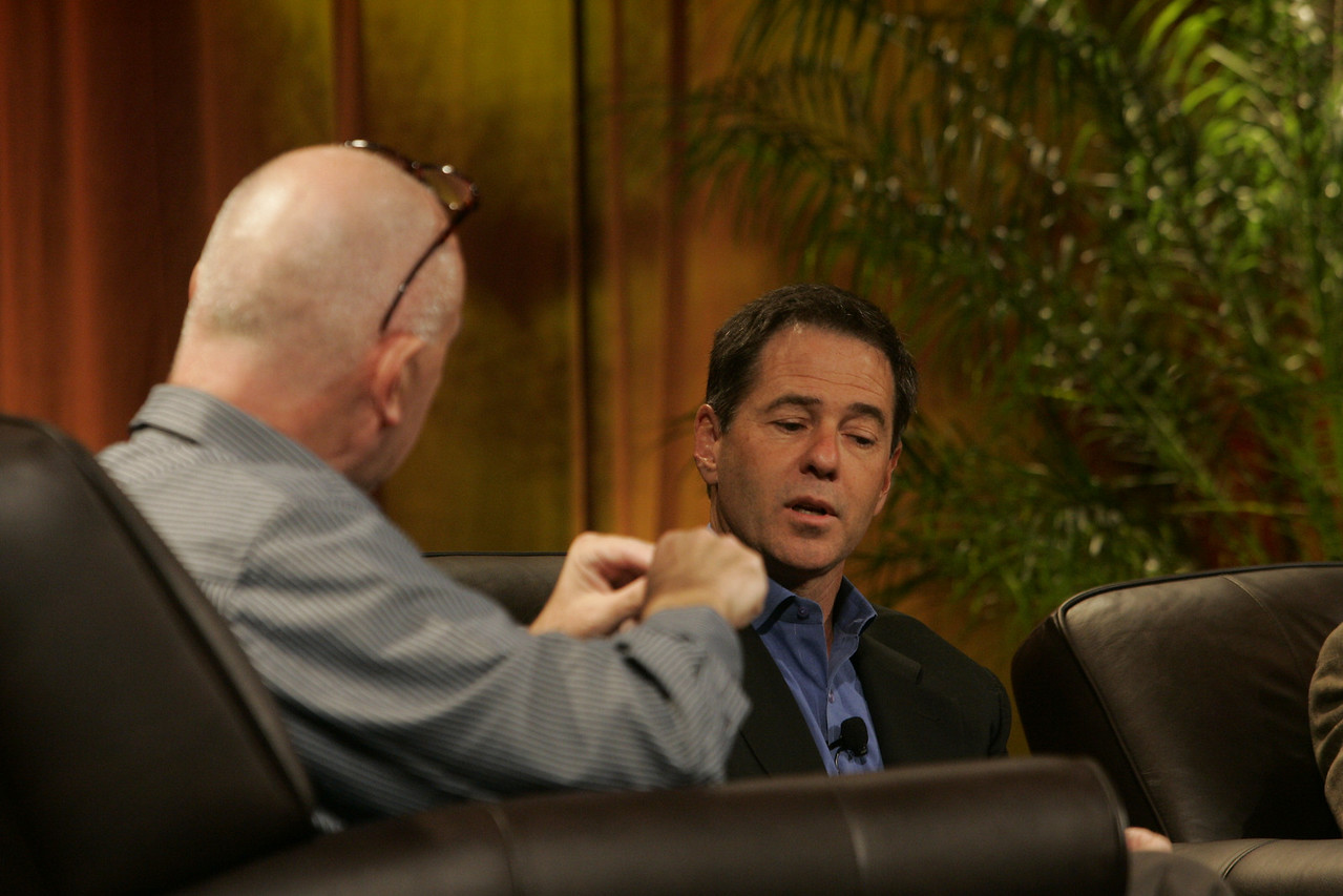 """Hotspots I"": Moderator Steve Evans (L), Business Daily, BBC World Service; and Jim Marggraff, chair and CEO, Livescribe"