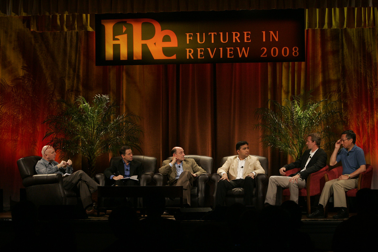 """Hotspots I"": (L-R) Moderator Steve Evans, BBC; Jim Marggraff, Livescribe; Robert Hagerty, Polycom; Rajiv Salimath, Amperion; Thor Einarsson, Afriversity; and Curtis Wong, Next Media Research, Microsoft"