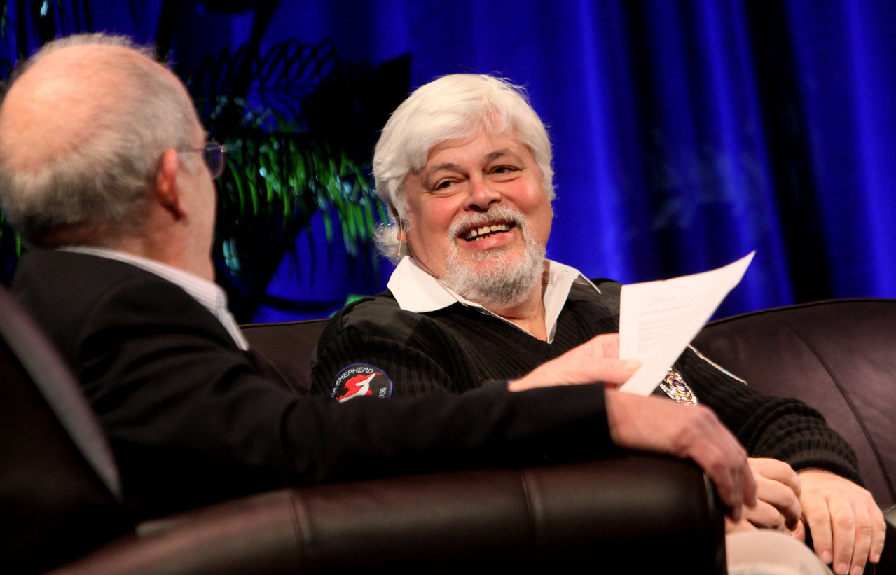 """Whale Wars: Filming and Fighting Illegal Whalers in the Antarctic"": Host Roger Payne (L), Founder and President, Ocean Alliance; with Captain Paul Watson, President and Founder, Sea Shepherd Conservation Society"