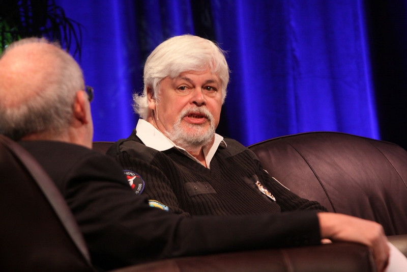 """Whale Wars: Filming and Fighting Illegal Whalers in the Antarctic"": Paul Watson (R), President and Founder, Sea Shepherd Conservation Society; and Host Roger Payne, Founder and President, Ocean Alliance"