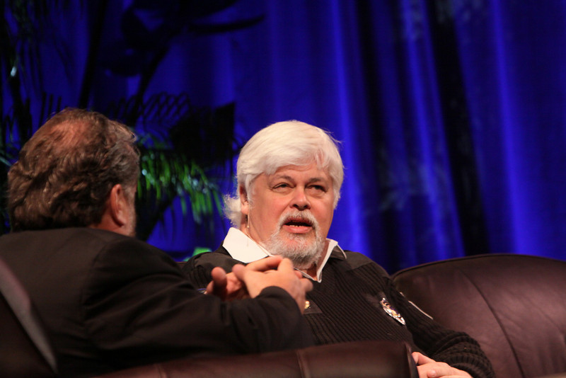 """Whale Wars: Filming and Fighting Illegal Whalers in the Antarctic"": Paul Watson (R), President and Founder, Sea Shepherd Conservation Society; with Mark Anderson, SNS CEO and FiRe Chair"