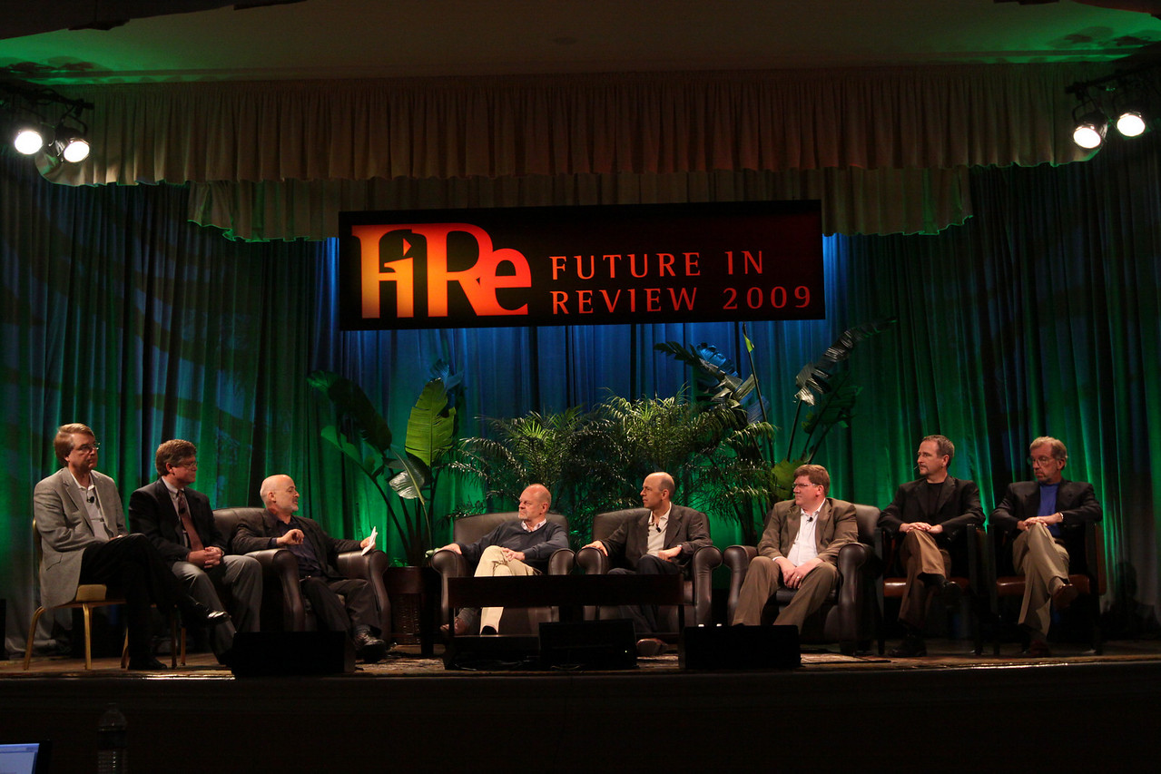 "FiRe CTO Design Challenge: ""Water Beyond Tomorrow"": (L-R) Larry Smarr, Director, Calit2 (the ""FiRe Lab""), UCSD; Bill Rose, Director, Right of Way, San Diego Water Authority; host David Brin, Author and Physicist; Kris Halvorsen, SVP and Chief Innovation Officer, Intuit; Jon Prange, Venture Business Manager, San Diego Zoo; Ty Carlson, Architect, SiArch Group, Microsoft; Joe Burton, CTO, Cisco; and Eric Openshaw, Vice Chair and U.S. Technology Leader, Deloitte"