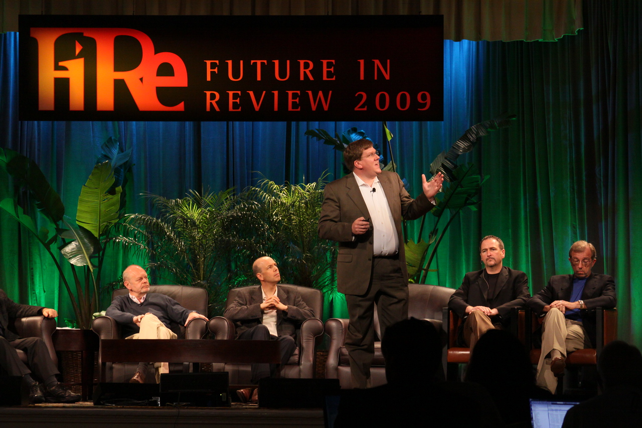 """FiRe CTO Design Challenge: """"Water Beyond Tomorrow"""": (L-R) Kris Halvorsen, SVP and Chief Innovation Officer, Intuit; Jon Prange, Venture Business Manager, San Diego Zoo; Ty Carlson, Architect, SiArch Group, Microsoft; Joe Burton, CTO, Cisco; and Eric Openshaw, Vice Chair and U.S. Technology Leader, Deloitte"""