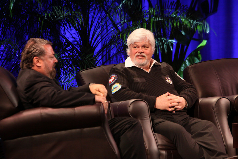 """""""Whale Wars: Filming and Fighting Illegal Whalers in the Antarctic"""": Paul Watson (R), President and Founder, Sea Shepherd Conservation Society; with Mark Anderson, SNS CEO and FiRe Chair"""