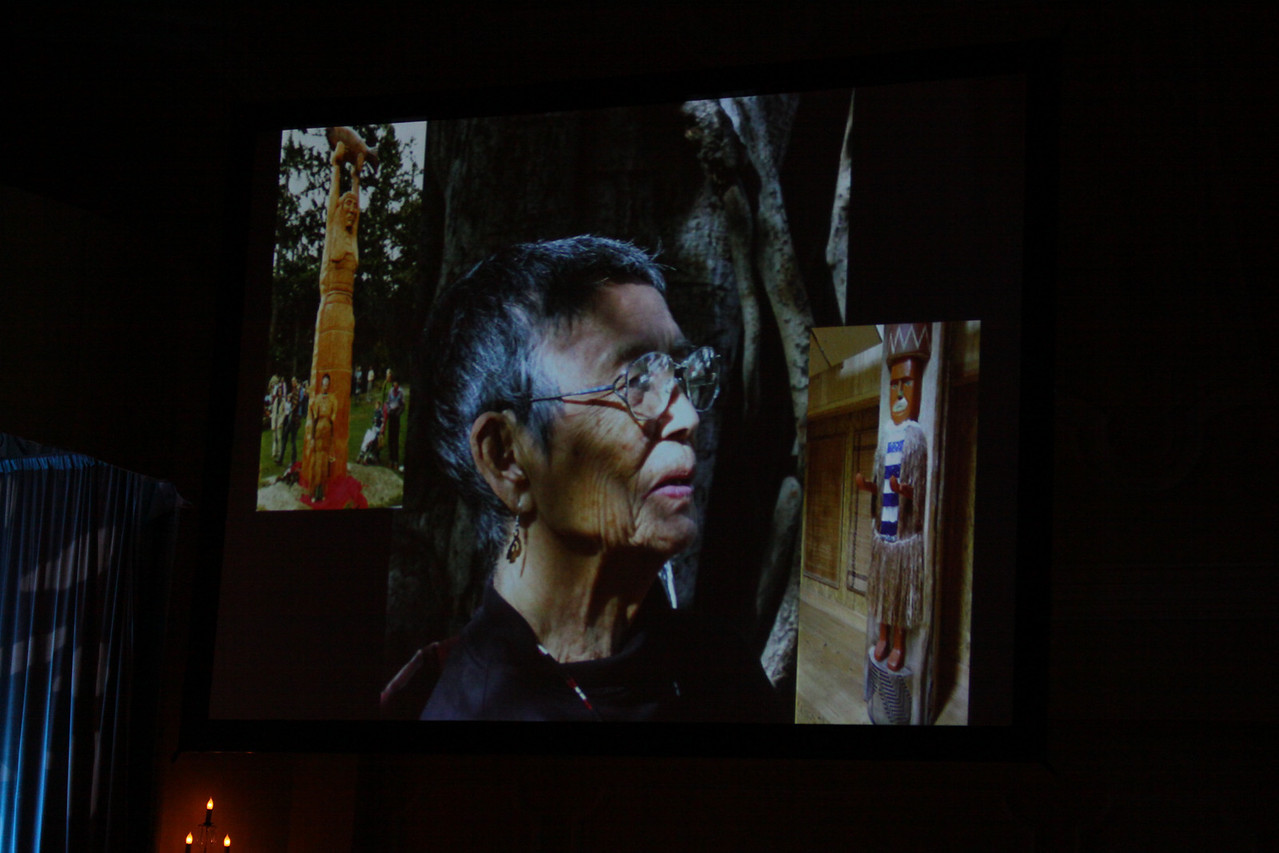 """Documenting Lushootseed, Through Its Last Living Speakers: A Foresight Foundation Project"": A slide of the late Lushootseed Living Treasure Vi Hilbert"