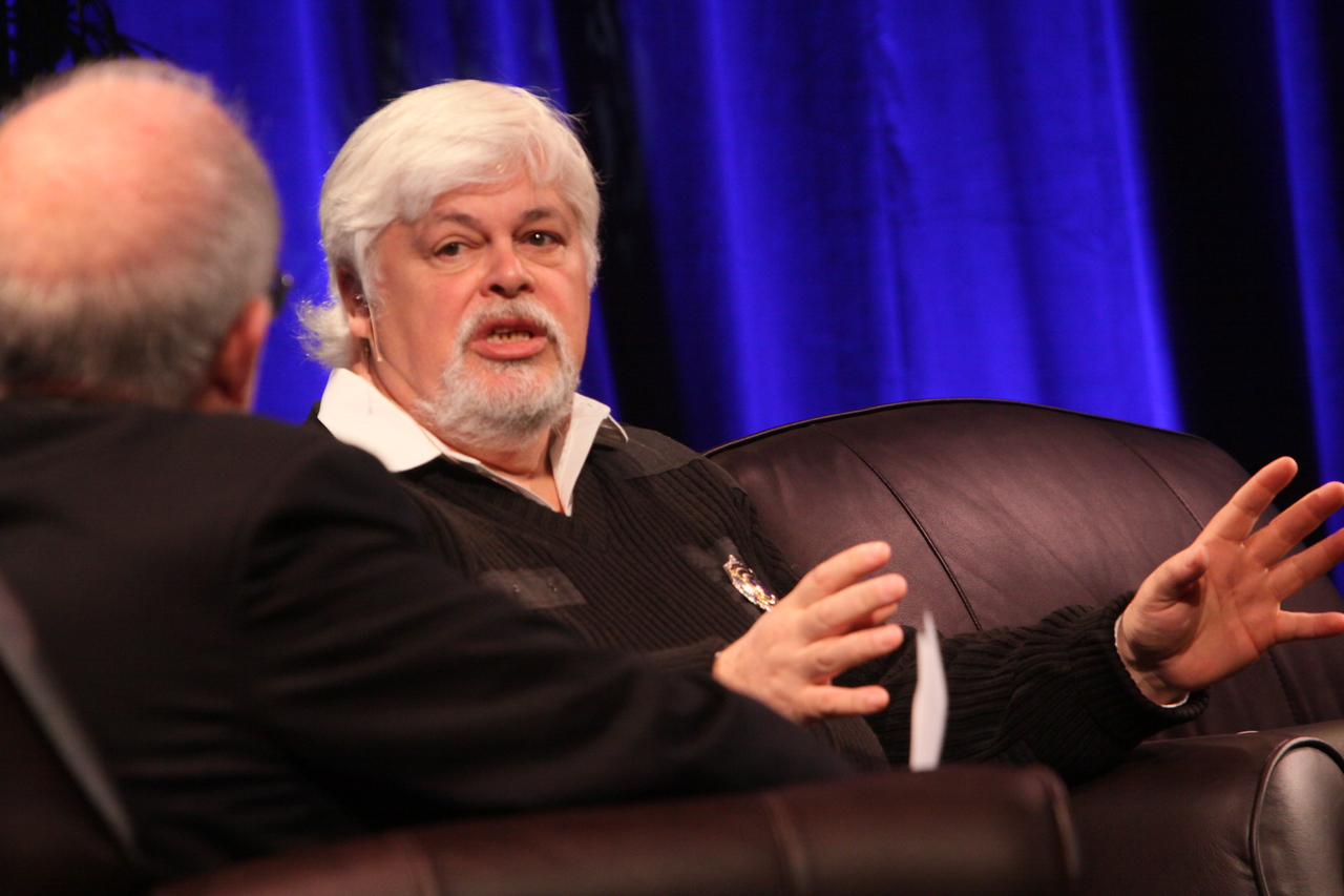 """""""Whale Wars: Filming and Fighting Illegal Whalers in the Antarctic"""": Paul Watson (R), President and Founder, Sea Shepherd Conservation Society; and Host Roger Payne, Founder and President, Ocean Alliance"""