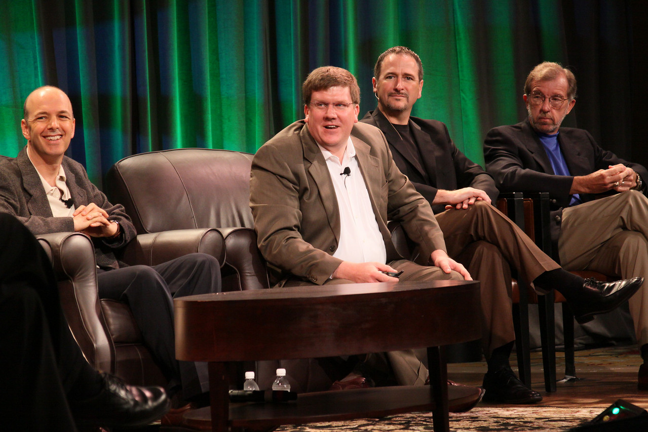 """FiRe CTO Design Challenge: """"Water Beyond Tomorrow"""": (L-R) Jon Prange, Venture Business Manager, San Diego Zoo; Ty Carlson, Architect, SiArch Group, Microsoft; Joe Burton, CTO, Cisco; and Eric Openshaw, Vice Chair and U.S. Technology Leader, Deloitte"""