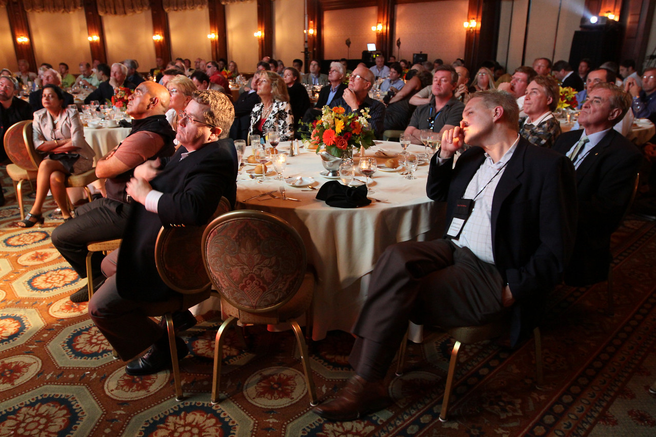 """Rapt FiRe participants listen to Opening Night speaker V. """"Ram"""" Ramanathan, Distinguished Professor of Climate Sciences and Director of C4, Scripps, UCSD, discuss """"Practical Strategies for Solving the Climate Problem"""""""