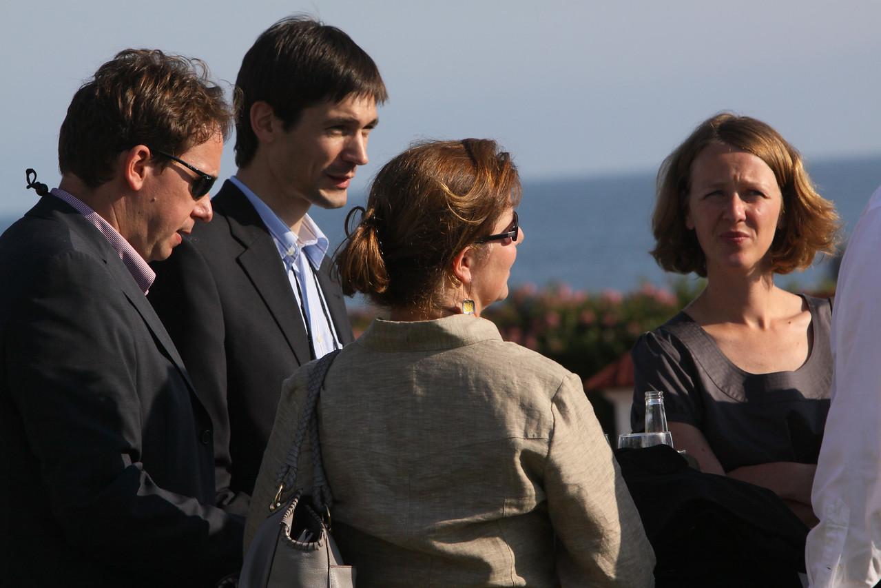 Matthias Hohensee (L), Senior U.S. Correspondent, Wirtschaftswoche; Georg Kopetz, Executive Board Member, Computertechnik AG; and guests