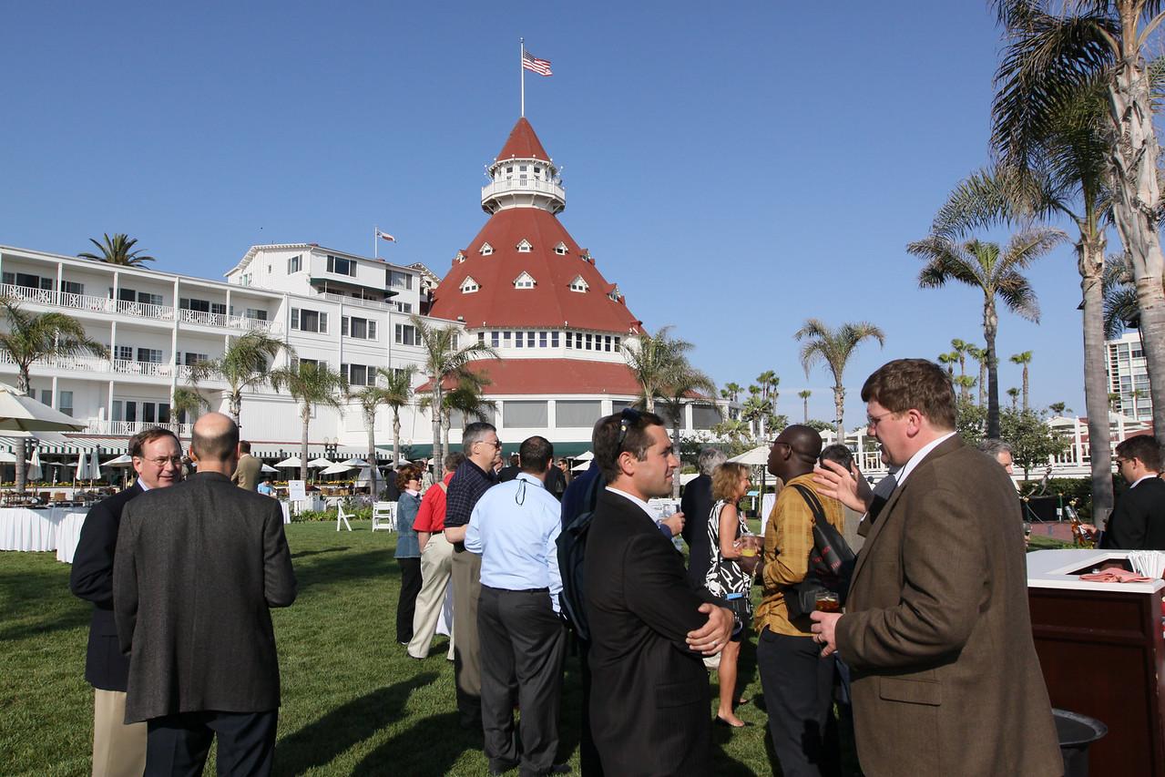 (Foreground) Matt Keller (L), FiRe/Rodels Foundation intern; and Ty Carlson, Architect, SiArch Group, Microsoft; (background) Hotel del Coronado's famed Ballroom turret