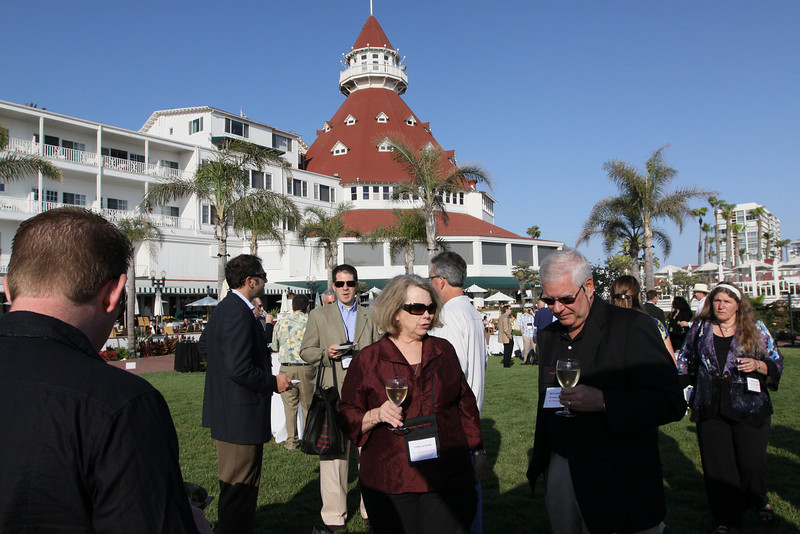 (Foreground) Terri LeFaivre and Rick LeFaivre, Venture Partner, OVP Venture Partners; in the background, the iconic turret of the Hotel del Coronado's Grand Ballroom