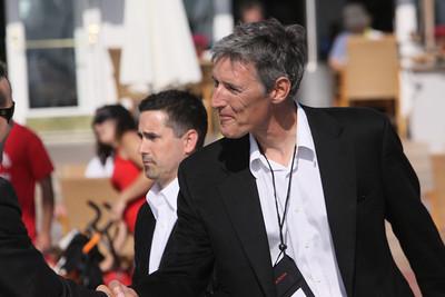 Lewis Douglas, Managing Director of Ocean Alliance, is greeted by FiRe/Thunderbird intern Matt Keller
