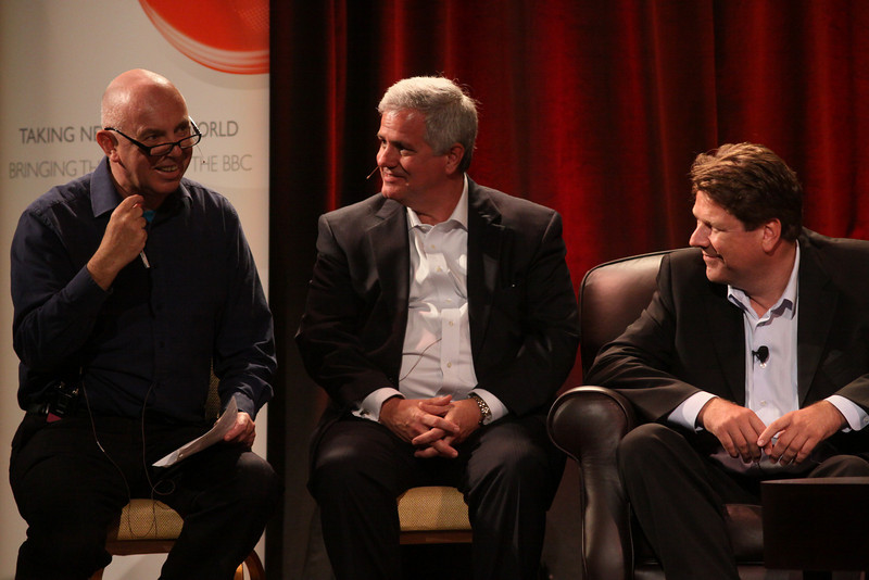 FiReStarters II: (L-R) Host Stephen Evans, Business Daily, BBC World Service; David Achim, President and COO, SkyFiber; and Ragnar Kruse, Founder and CEO, Smaato