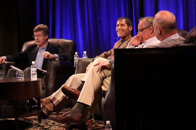 """One Cloud Serving Many Platforms, Applications, and Devices"": (L-R) Host Tom Malloy, SVP and Chief Software Architect, Adobe Systems; Noam Ziv, VP, Engineering, Qualcomm; Mario Dal Canto, Chair and CEO, SIMtone; and Kris Halvorsen, SVP and Chief Innovation Officer, Intuit"