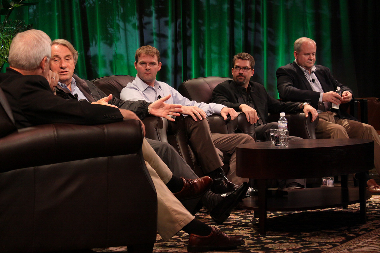 """Trends in Global Venture Investment"": (L-R) Host Rick LeFaivre, Venture Partner, OVP Venture Partners (Seattle); Roger Buckeridge, Director and Co-Founder, Allen & Buckeridge (Australia); Niall Davis, Partner, aeris CAPITAL AG (Zurich); Michael Pfeffer, Managing Partner, Kolohala Ventures (Hawaii); and Gary Rieschel, Qiming Venture Partners (Shanghai)"