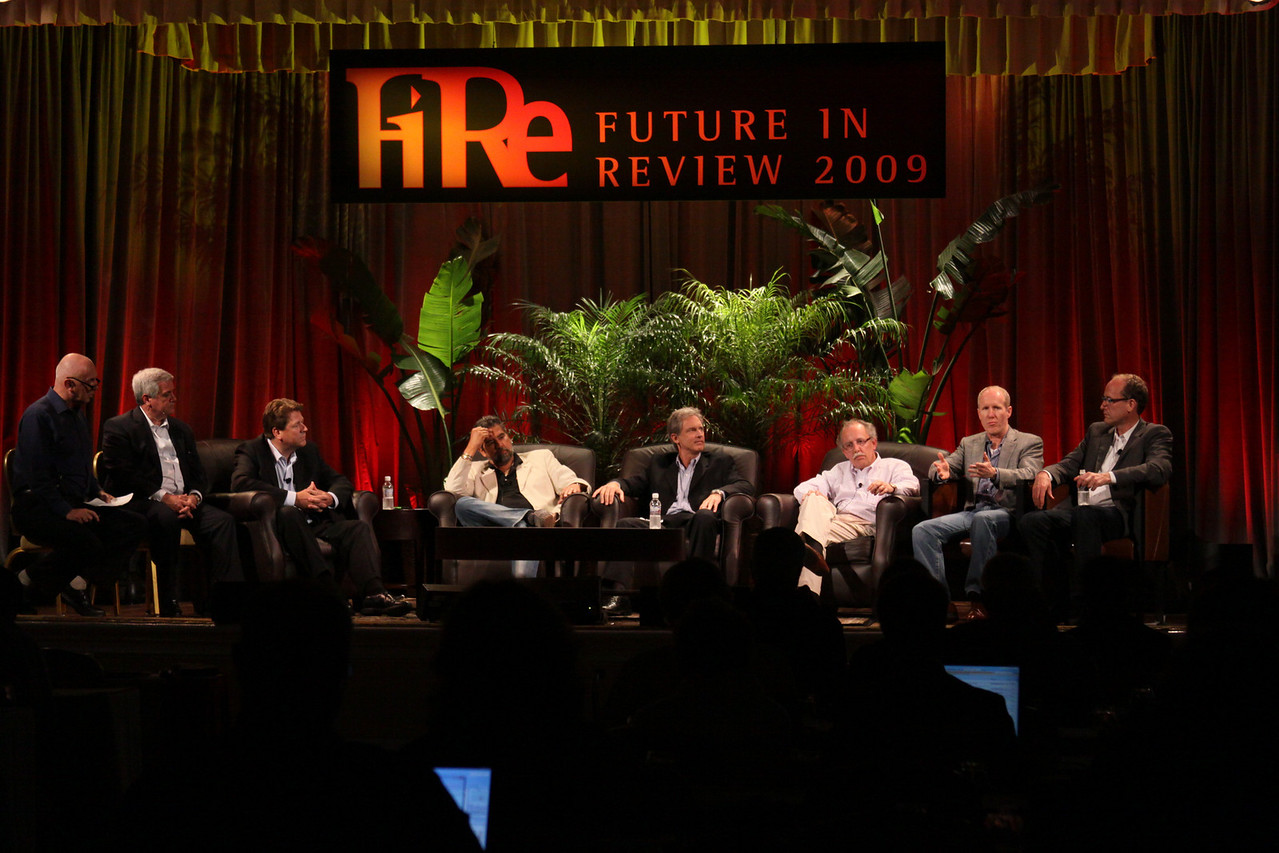 FiReStarters II: (L-R) Host Stephen Evans, Business Daily, BBC World Service; David Achim, President and COO, SkyFiber; Ragnar Kruse, Founder and CEO, Smaato; Henk Rogers, Co-Founder and Chair, Blue Lava Technologies; Eric Darmstaedter, CEO, ClearFuels Technology; Mario Dal Canto, Chair and CEO, SIMtone; Ian Hersey, Global CTO and EVP, Products, Attensity Group; and Alan Smith, Founder and CEO, Vesta Health Systems