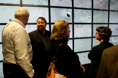 "FiRe tour of the Next-Generation Visualization and Networking Facilities (""FiRe Lab""), UCSD: (L-R) Tom Greaves and Mark Anderson; Kathy Hurley; and Stacy Schwarz-Gardner"