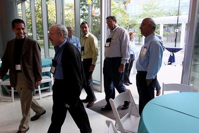 "FiRe tour of the Next-Generation Visualization and Networking Facilities (""FiRe Lab""), UCSD: (L-R) Noam Ziv, John Hagel, Matt Keller, Kip Harrell, and a member of the generous Calit2 staff"