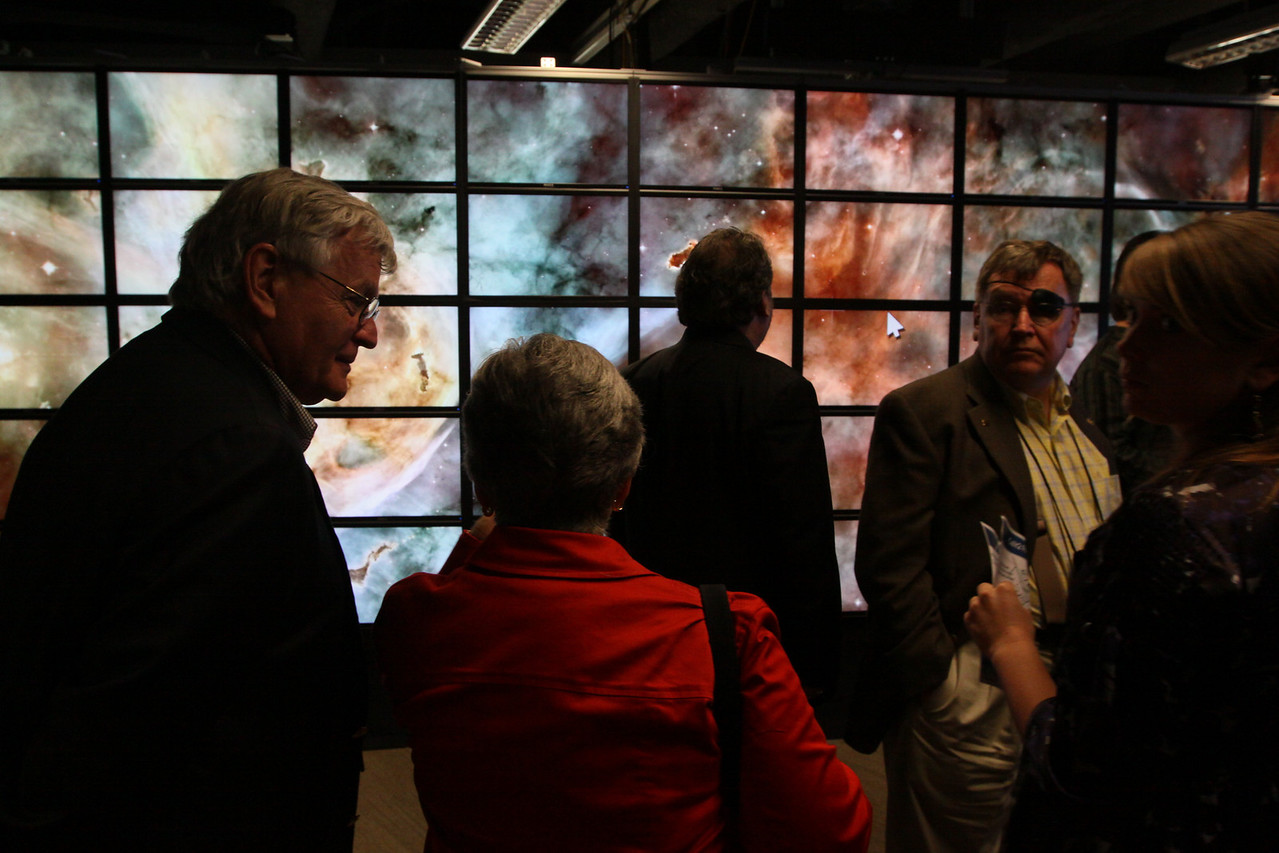 "FiRe tour of the Next-Generation Visualization and Networking Facilities (""FiRe Lab""), UCSD: (L-R) David Morris, Lynne Anderson, Mark Anderson, Jerry Woodall, and Berit Anderson"