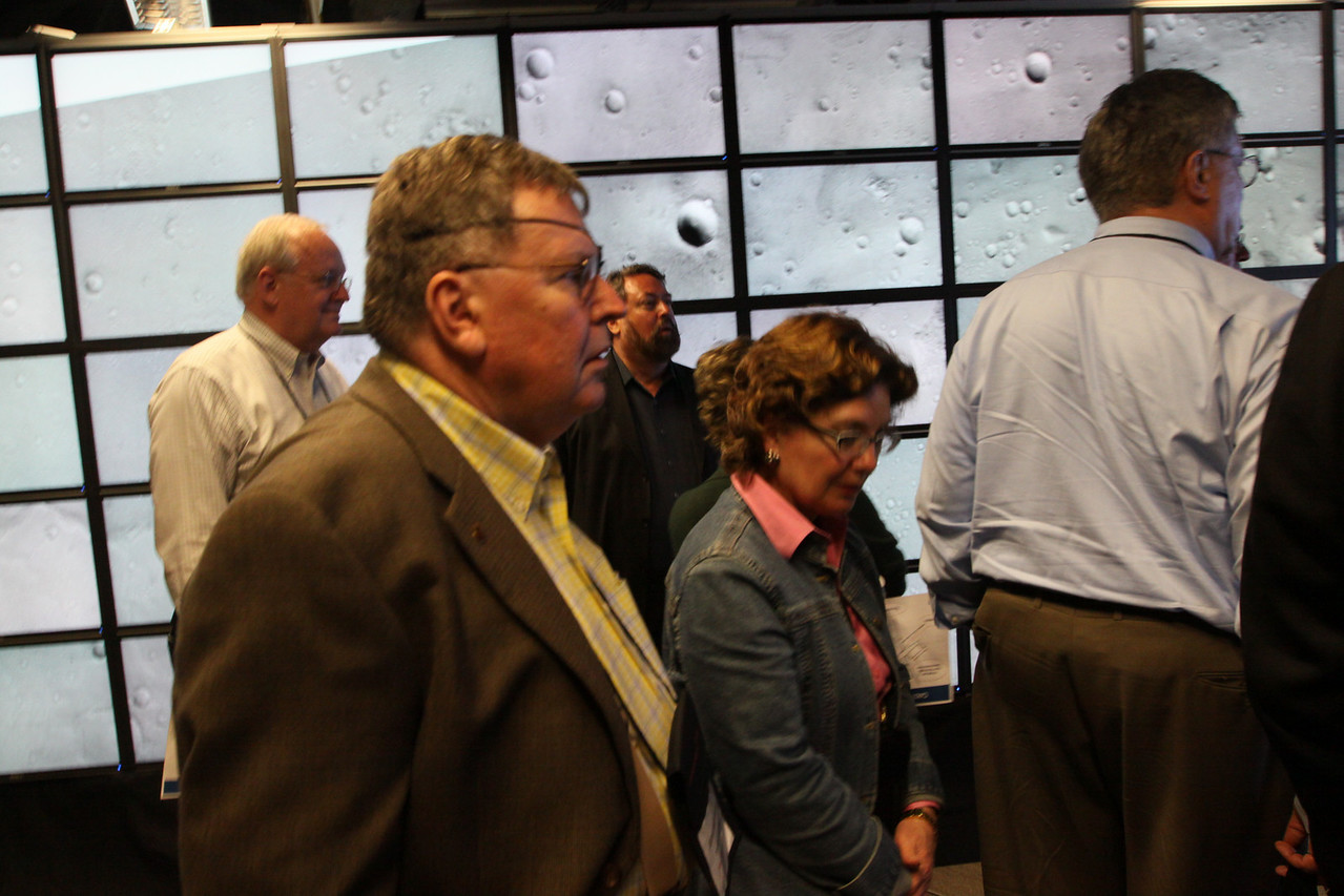 """FiRe tour of the Next-Generation Visualization and Networking Facilities (""""FiRe Lab""""), UCSD: Visiting Mars are (L-R) Tom Greaves, Jerry Woodall, Mark Anderson, and Nancy Bulger"""