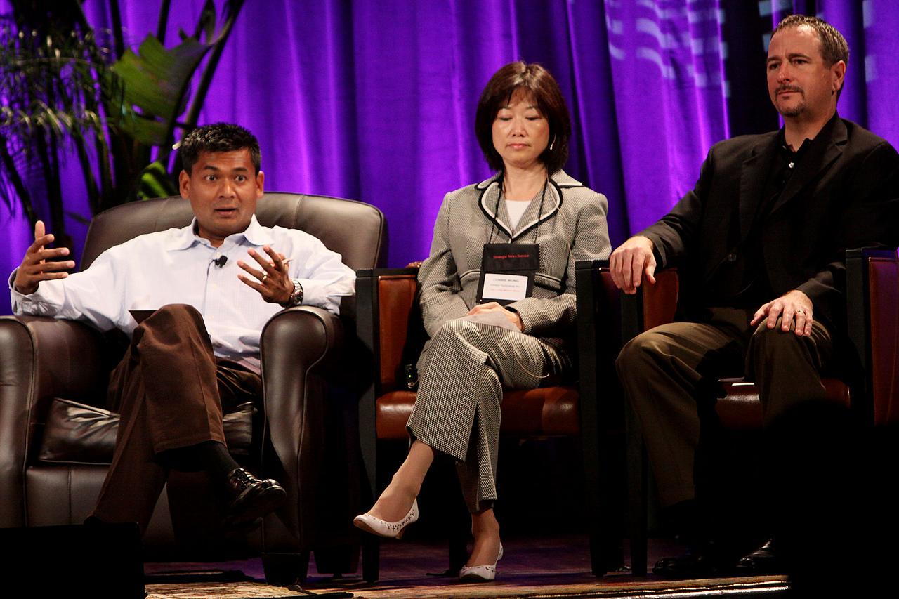"""HOTSPOTS II: Five Personal Views of the Future"": Balan Nair (L), SVP and CTO, Liberty Global; Connie Wong, CEO, Vidiator; and Joe Burton, VP and CTO, Cisco Systems"