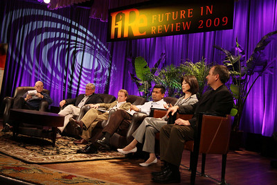 """HOTSPOTS II: Five Personal Views of the Future"": Host Stephen Evans (L), BBC World Service; David Morris, EcoVerdance; Jim Butler, Microsoft; Balan Nair, Liberty Global; Connie Wong, Vidiator; and Joe Burton, Cisco Systems"