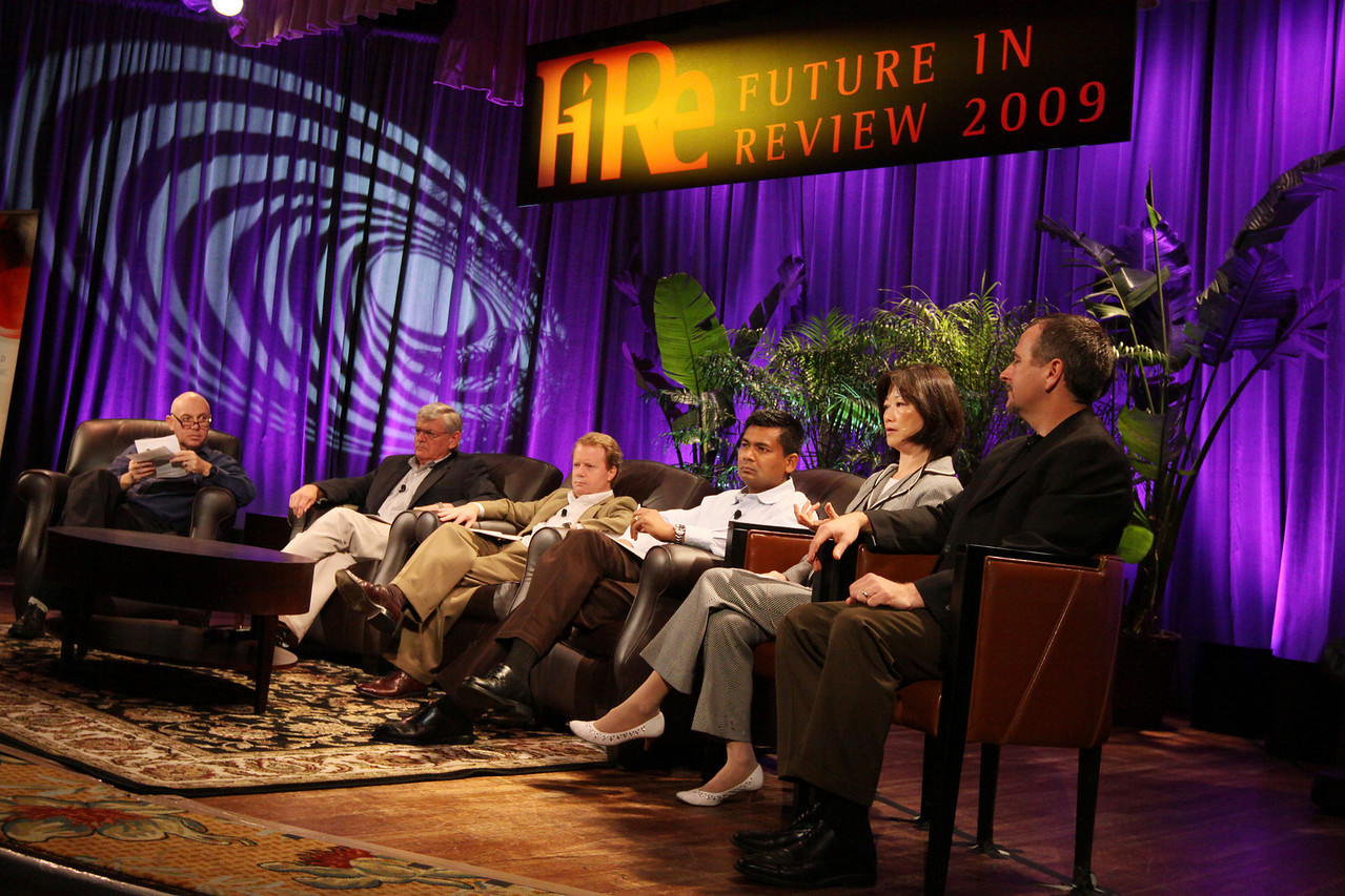 """HOTSPOTS II: Five Personal Views of the Future"": Host Stephen Evans (L), BBC World Service; David Morris, EcoVerdance; Jim Butler, Microsoft; Balan Nair, Liberty Global; Connie Wong, Vidiator; and Joe Burton, Cisco Systems"