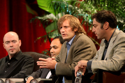 """FiReStarters I"" - Member-nominated new ventures we believe will improve the world in the next 3-5 years: (L-R) Avatar Reality (Jim Sink, VP, Business Development); Rearden Commerce (Ravi Chiruvolu, Board Director); Tigo Energy (Jeff Krisa, VP, Marketing and Sales); and Complete Genomics (Aaron Solomon, VP, Business Development)"