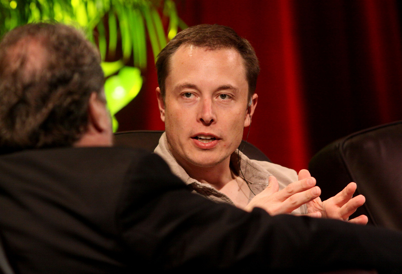 """Blast Off! From Launching Private Rockets to the Next Electric Cars"": Elon Musk (R), CEO of SpaceX and Tesla Motors, with host Mark Anderson, FiRe Chair and CEO of SNS"