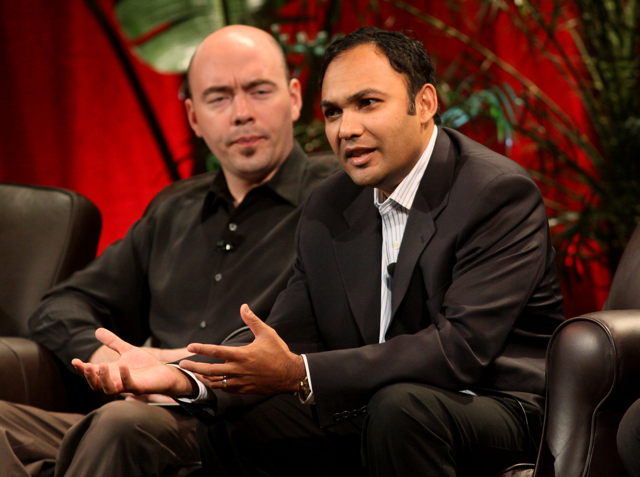 """""""FiReStarters I"""" - Member-nominated new ventures we believe will improve the world in the next 3-5 years: Avatar Reality, represented by Jim Sink (L), VP, Business Development; and Rearden Commerce, represented by Board Director Ravi Chiruvolu"""