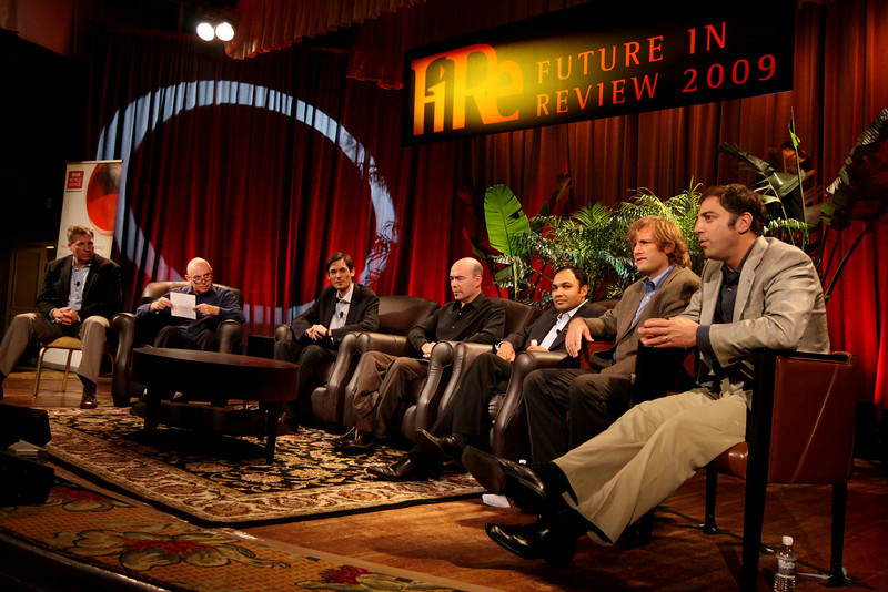 """FiReStarters I"" - Member-nominated new ventures we believe will improve the world in the next 3-5 years: (L-R) Host Stephen Evans, Business Daily presenter, BBC World Service; Avatar Reality (Jim Sink, VP, Business Development); Rearden Commerce (Ravi Chiruvolu, Board Director); Tigo Energy (Jeff Krisa, VP, Marketing and Sales); and Complete Genomics (Aaron Solomon, VP, Business Development)"
