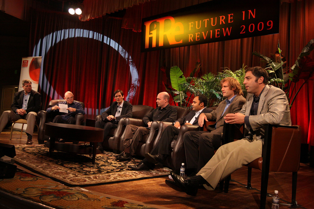 FiReStarters I: (L-R) David Boone, President and CEO, American CareSource; host Stephen Evans, Business Daily, BBC World Service; Georg Kopetz, Executive Board Member, TTTech Computertechnik; Jim Sink, VP, Business Development, Avatar Reality; Ravi Chiruvolu, Board Director, Rearden Commerce; Jeff Krisa, VP, Marketing and Sales, Tigo Energy; and Aaron Solomon, VP, Business Development, Complete Genomics