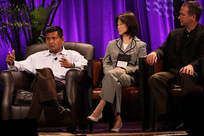 """HOTSPOTS II: Five Personal Views of the Future"": (L-R) Balan Nair, SVP and CTO, Liberty Global; Connie Wong, CEO, Vidiator; and Joe Burton, VP and CTO, Cisco Systems"