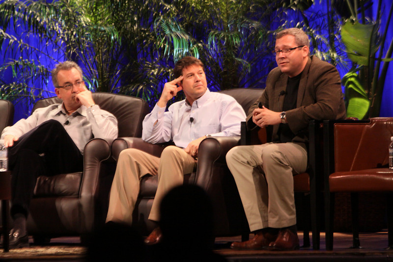 """Infrastructure 2.0: The Coming Network Revolution"": (L-R) Mark Thiele, Director, Business Operations for R&D, VMware; Erik Giesa, VP, Product Management and Product Marketing, F5 Networks; and Doug Gourlay, VP, Data Center Solutions, Cisco"