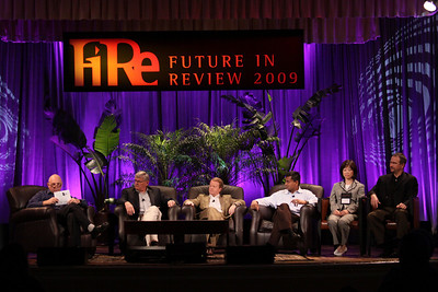 """HOTSPOTS II: Five Personal Views of the Future"": (L-R) Host Stephen Evans, Business Daily presenter, BBC World Service; David Morris, President and CEO, EcoVerdance; Jim Butler, GM, Communications Sector, Greater China, Microsoft; and Balan Nair, SVP and CTO, Liberty Global; Connie Wong, CEO, Vidiator; and Joe Burton, VP and CTO, Cisco Systems"