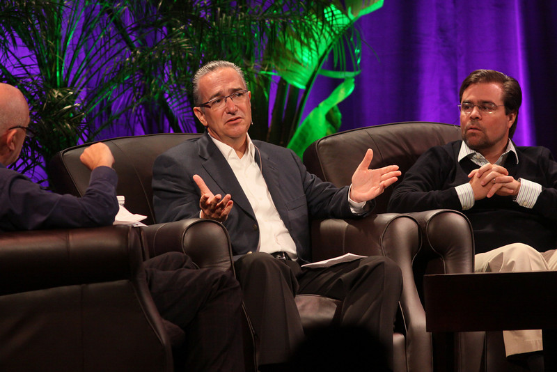 """Latin America: """"Mexico's Future: Business vs. Narcotics"""" and """"Venezuela's Future: Living with Chavez"""": (L-R) Host Stephen Evans, Business Daily, BBC World Service; Ricardo Salinas, Chair, Grupo Salinas; and David Brillembourg, President, The Brilla Group"""