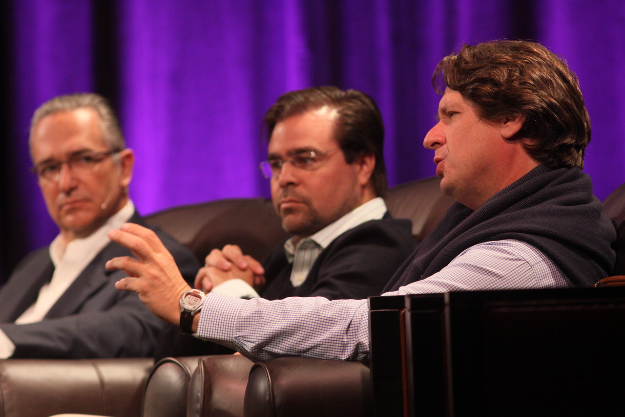 """Latin America: """"Mexico's Future: Business vs. Narcotics"""" and """"Venezuela's Future: Living with Chavez"""": (L-R) Ricardo Salinas, Chair, Grupo Salinas; David Brillembourg, President, The Brilla Group; and Nelson Ortiz, past President, Caracas Stock Exchange"""