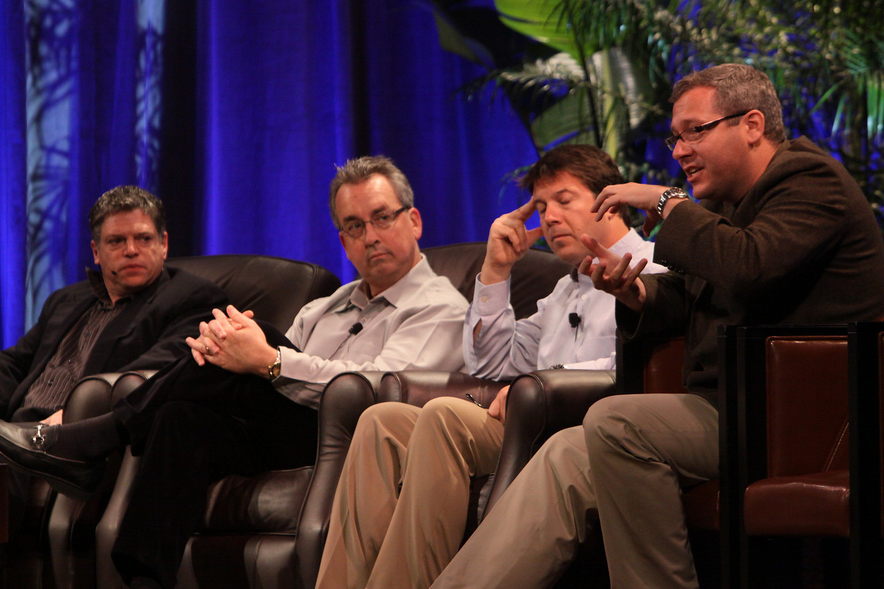 """Infrastructure 2.0: The Coming Network Revolution"": (L-R) Richard Kagan, VP Marketing, Infoblox; Mark Thiele, Director, Business Operations for R&D, VMware; Erik Giesa, VP, Product Management and Product Marketing, F5 Networks; and Doug Gourlay, VP, Data Center Solutions, Cisco"
