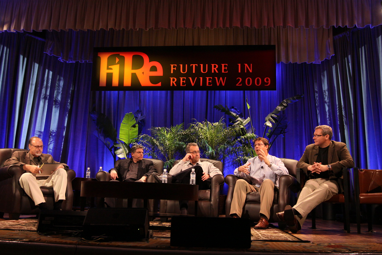 """""""Infrastructure 2.0: The Coming Network Revolution"""": (L-R) Host Greg Ness, Senior Director, Infoblox; Richard Kagan, VP Marketing, Infoblox; Mark Thiele, Director, Business Operations for R&D, VMware; Erik Giesa, VP, Product Management and Product Marketing, F5 Networks; and Doug Gourlay, VP, Data Center Solutions, Cisco"""