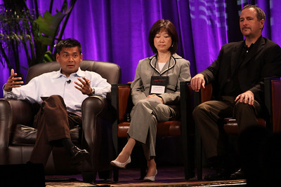 """HOTSPOTS II: Five Personal Views of the Future"": (L-R) Balan Nair, SVP and CTO, Liberty Global; Connie Wong, CEO, Vidiator; and Joe Burton, VP and CTO, Cisco Systems"
