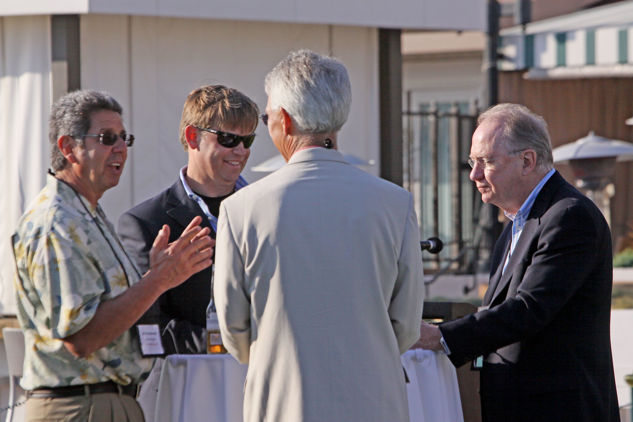 (L-R) Bob Warshawer, Black Rock Cable; John Thompson, Kognitio Inc.; David Engle, SNS Project Inkwell and North Platte Public Schools; and Craig Norris, Attensity Group (a FiReStarter company)
