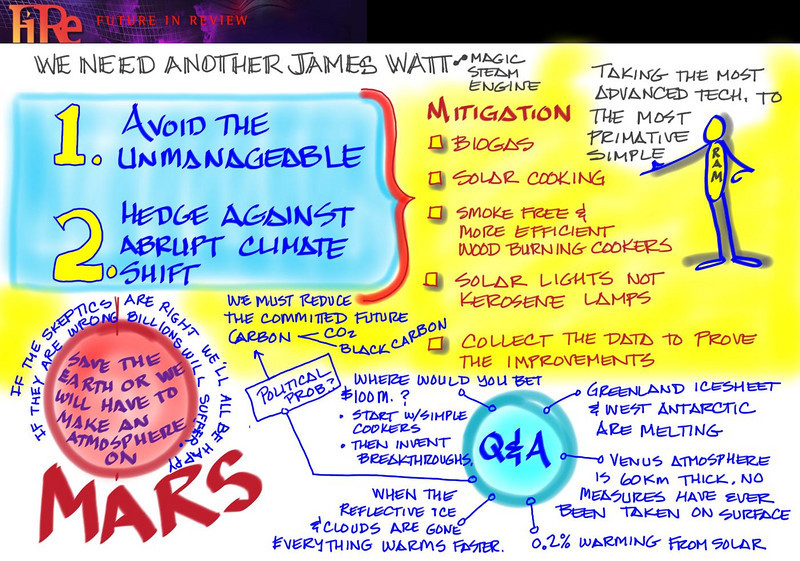 "Panel by Joe Sterling, FiReScribe 2009, depicting V. ""Ram"" Ramanathan's Opening Night keynote presentation: "" Practical Strategies for Solving the Climate Problem"""