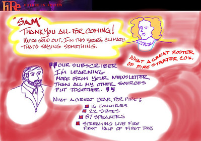 Panel by Joe Sterling, FiReScribe 2009, depicting Sharon Anderson-Morris' and Mark Anderson's Opening Night welcome remarks